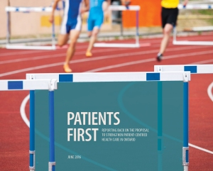 Runners' hurdle with Patients First report cover on top.