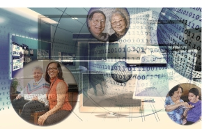 computer code with images of patients and care coordinators on top.