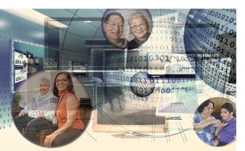 computer system graphic with home care images showing how big data informs and manages CCAC patient care