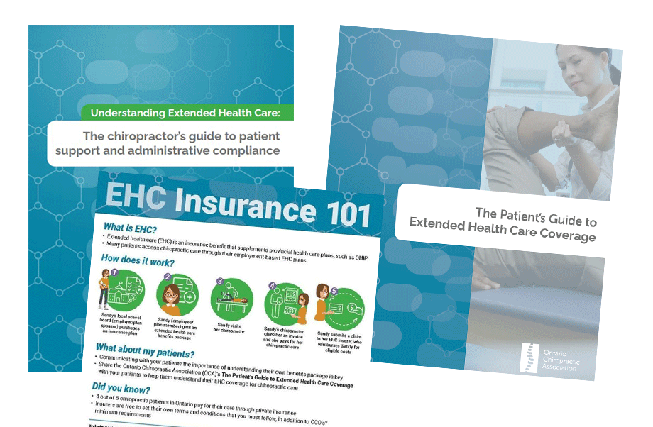 Covers of OCA-produced Understanding Extended Health Care guide for chiropractors, Patient's Guide to Extended Health Care Coverage and example infographic titled EHC Insurance 101.
